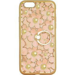 Силикон iPhone 6 peach Flowers Finger holder