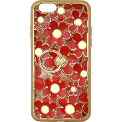Силикон iPhone 6 red Flowers Finger holder