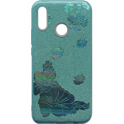 Силикон Huawei P Smart Plus blue Glitter Flowers 3D