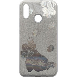 Силикон Huawei P Smart Plus silver Glitter Flowers 3D